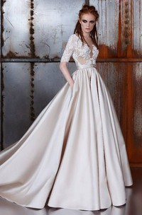 Lace Half Sleeve Satin A-Line Wedding Dress With Illusion Appliqued Top
