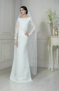 Sheath Floor-Length Bateau-Neck Illusion-Sleeve Low-V-Back Lace Dress With Flower And Sash