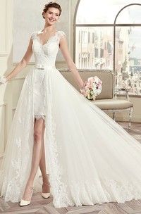 V-Neck Cap-Sleeve Short Lace Wedding Dress With Detachable Overlayer And Open Back