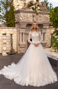 Off-the-shoulder Illusion Long Sleeve And Button Back Ballgown Lace Tulle Wedding Dress With Sash