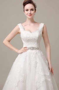 V-Neck Sleeveless Tea-Length Alce Wedding Dress With Beaded Waistband