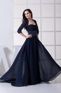 Strapless Ruched Chiffon Maxi Dress with Bolero and Beaded Waist