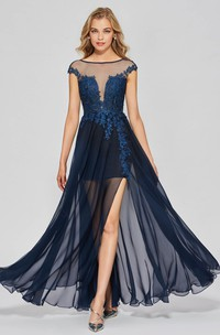 Split Front A-line Sexy Bateau Chiffon Gown With Lace Appliques And Deep V-back