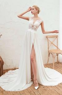 Cap Sleeve Elegant A-line Split Front Illusion Lace Appliqued Chiffon Bridal Gown
