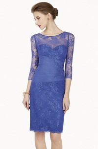 Pencil Appliqued Scoop-Neck 3-4-Sleeve Midi Lace Prom Dress