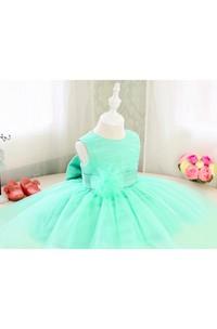 Basic Style Sleeveless Organza Floor Length Toddler Girl Dress