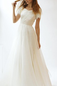 V-Neck Short Sleeve A-Line Tulle Wedding Dress With Lace Bodice