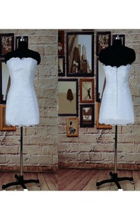 Short Sweetheart Tulle Lace Satin Weddig Dress