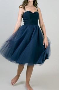 Tea-length Sweetheart Sleeveless Sleeve Tulle Dress