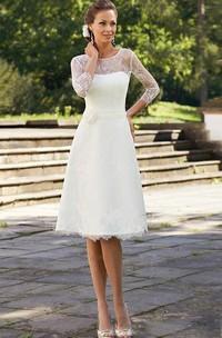 A-Line Short Scoop Bell Beading Flower Zipper Lace Sequins Dress