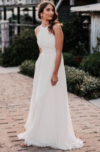 Ethereal Lace Chiffon Halter A Line Floor-length Open Back Wedding Dress