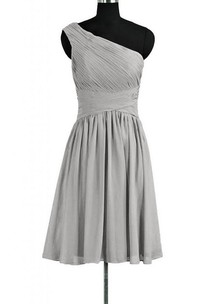 One-shoulder Short Dress With Asymmetrical Ruching