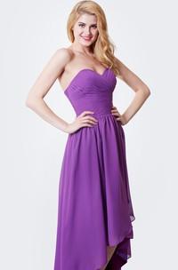 Sweetheart High Low Chiffon Bridesmaid Dress