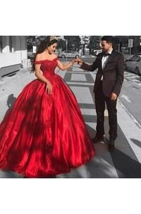 Ball Gown Off-the-shoulder Short Sleeve Tulle Dress