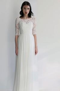 Simple Sheath Chiffon Bateau Half-Sleeve Long Bridal Gown