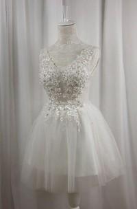 V-Neck Tulle Satin Dress With Beading