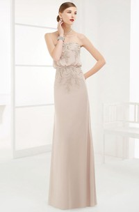 Strapless Sheath Long Prom Dress With Appliqued Top And Belt
