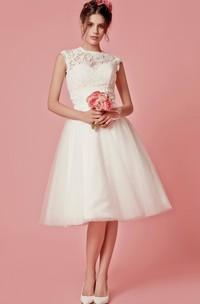 Cap Sleeved A-Line Knee Length Wedding Dress With Jacket