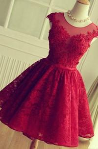 Elegant A-Line Jewel Cap Sleeve Short Back Lace Applique Knee Length Dress
