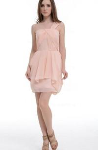 A-line Short One-shoulder Chiffon&Satin Dress With Ruffles