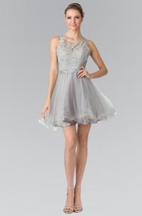 A-Line Mini V-Neck Sleeveless Lace Keyhole Dress With Waist Jewellery And Ruffles