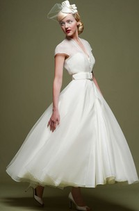 Ankle-Length A-Line Ribboned V-Neck Cap Sleeve Tulle Wedding Dress
