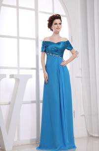 Off-The-Shoulder Ruched Maxi Dress With Beading