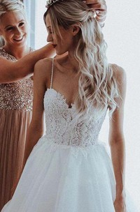 Ball Gown Spaghetti Lace and Tulle Floor-length Sleeveless Wedding Dress with Beading