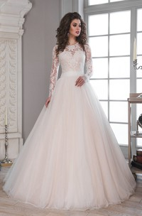 A-Line Maxi Scoop Long-Sleeve Illusion Tulle Lace Dress With Bow