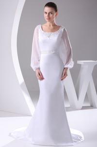 Elegant Square-Neck Long-Sleeve Mermaid Dress With Beading