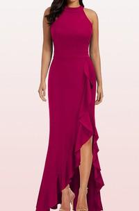 Sheath Halter Jersey Sleeveless Evening Dress With Ruffles and Split Front