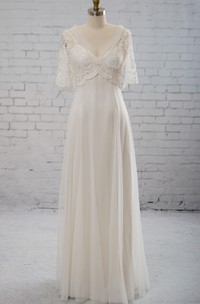 Sweetheart A-line Chiffon Dress With Half-sleeved Illusion Bodice