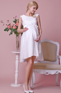 Scoop Neckline Allover Lace Knee Length A-line Maternity Wedding Dress With Cap Sleeves