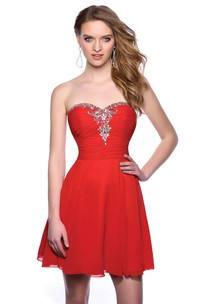 Ruched Bodice A-Line Sweetheart Chiffon Homecoming Dress Featuring Crystal Detailing