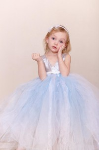 Sleeveless V-neck Satin Bodice Pleated Tulle Flower Girl Dress With Bow Sash