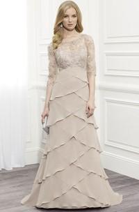 Floor-Length Scoop Neck Tiered Half Sleeve Chiffon Formal Dress
