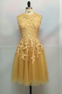 Sleeveless A-line Knee-length High Neck Lace Dress