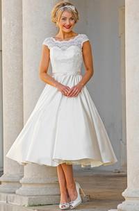 Tea-Length A-Line Cap Sleeve Lace Scoop Neck Satin Wedding Dress