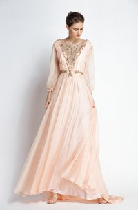 A-Line Bateau Puff Balloon Long Sleeve Floor-length Chiffon Prom Dress with Beading and Deep-V Back