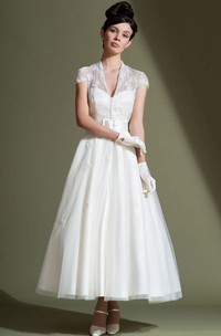 Ankle-Length A-Line V-Neck Cap Sleeve Appliqued Tulle Wedding Dress