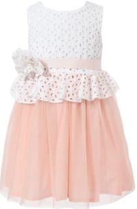 Sleeveless Scoop-neck A-line Tulle Dress With Belt