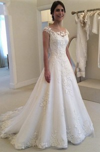Bateau Lace Adorable Bridal Dress With Illusion Button Back And Cap Sleeves