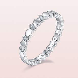 Honeycomb Moissanite Siver 925 Stackable Rings