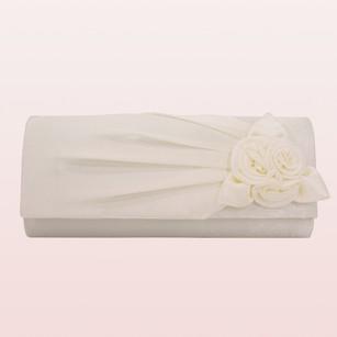Satin Handbag with Flower