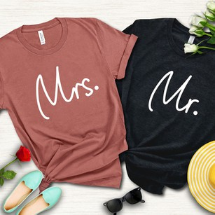 Mr & Mrs Shirts for Couples Wedding, Anniversary, Newlywed