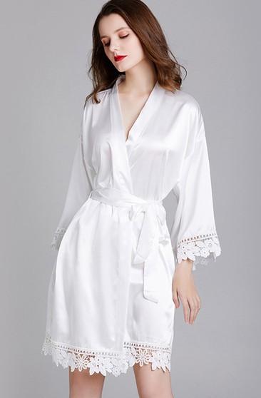 Laced Plain Bride Bridesmaid Robe