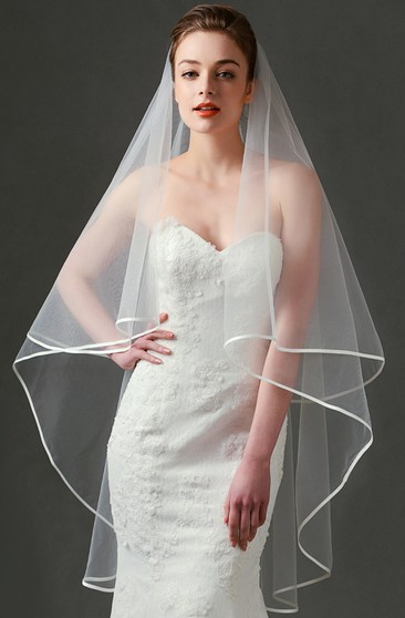 Simple Ethereal Two Layered Tulle Wedding Veil