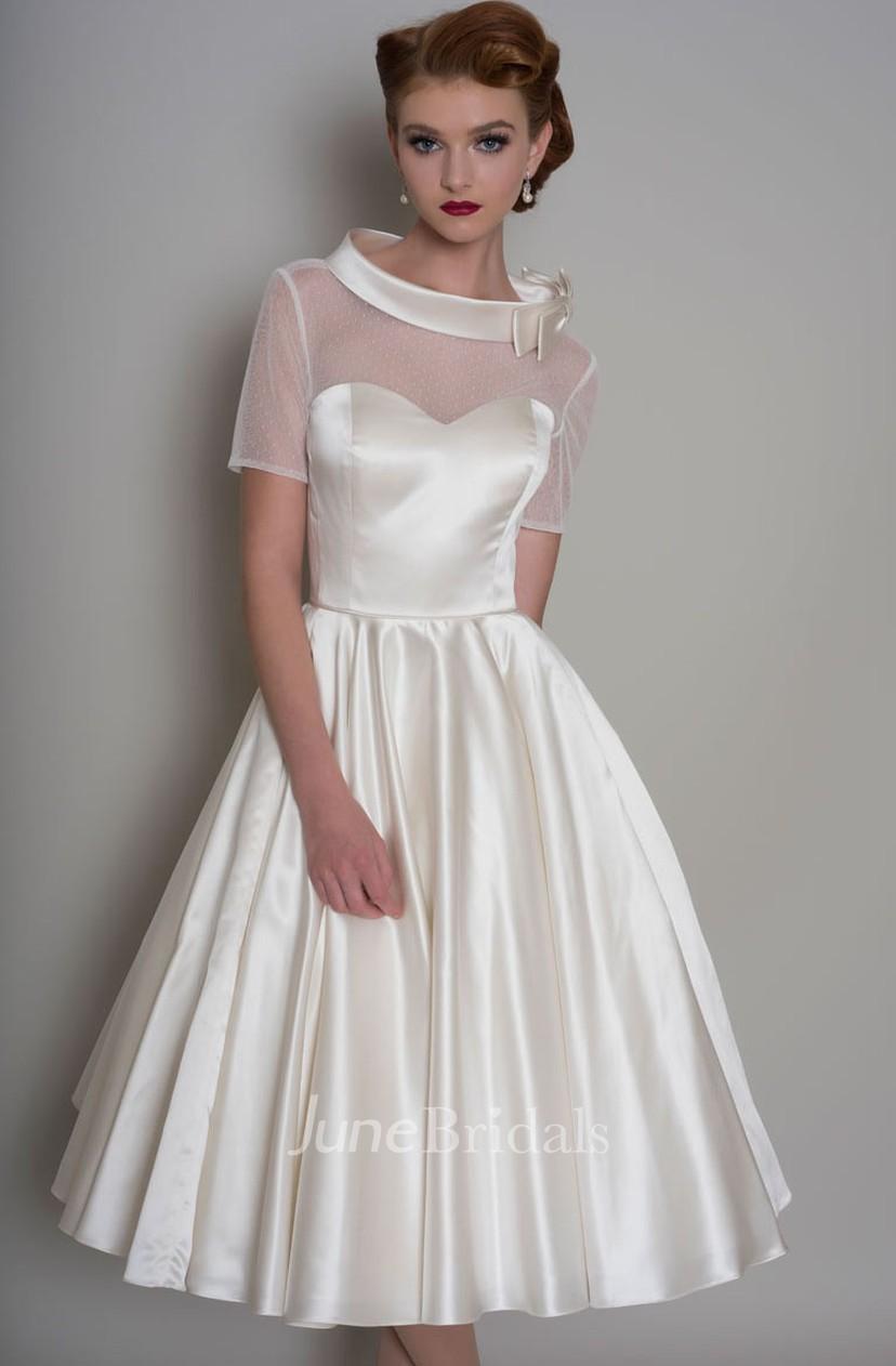 A Line Knee Length Bowed Short Sleeve Satin Wedding Dress   June ...