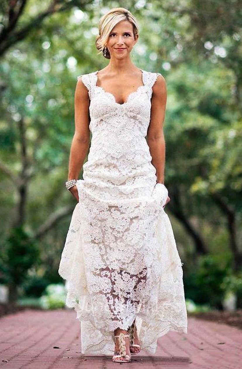 Details about  /Vintage Lace Country Wedding Dress Backless Cap Sleeve V Neck Sheath Bridal Gown